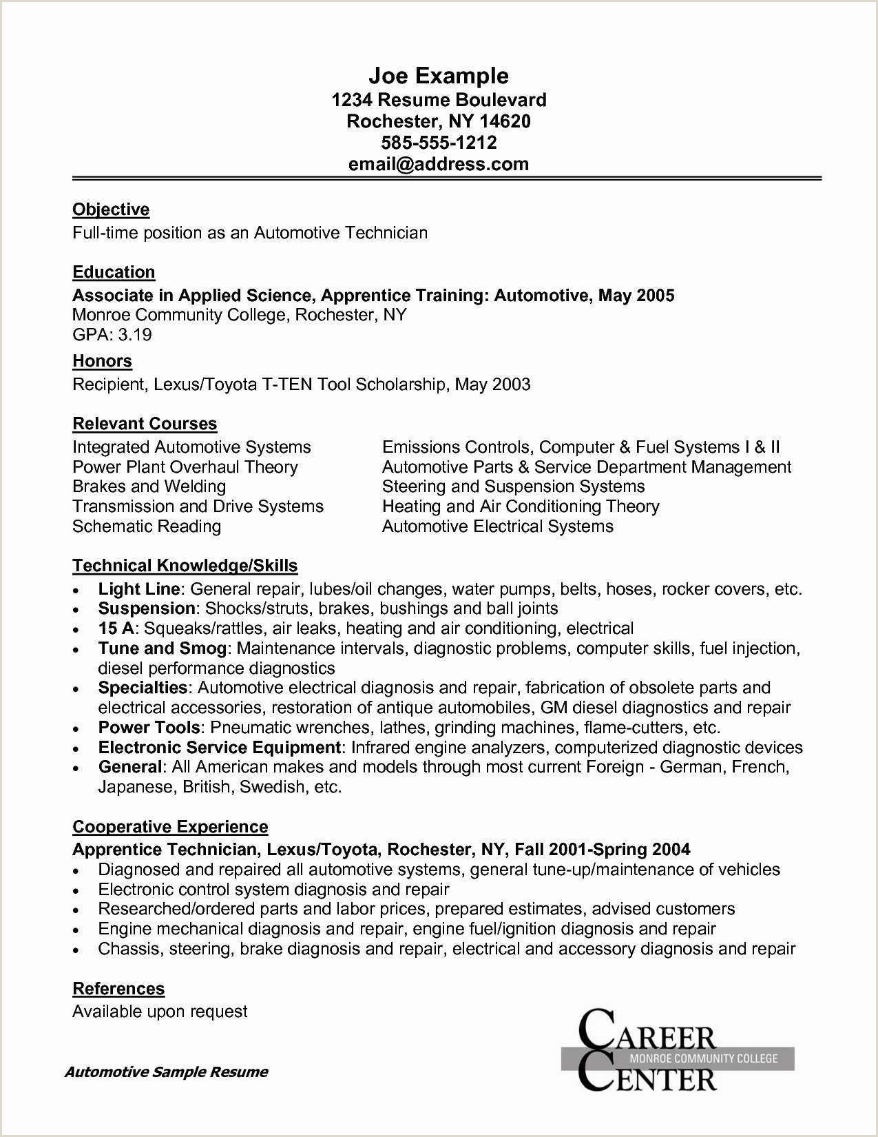 Electrician Apprentice Job Description Resume 9 Automotive Job Resume Examples