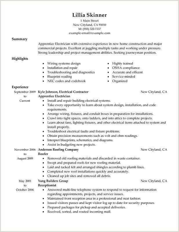 Apprentice Electrician Resume Sample