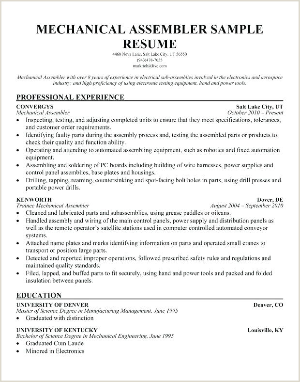 Electronic assembler Resume assembly Line Resume – Wikirian