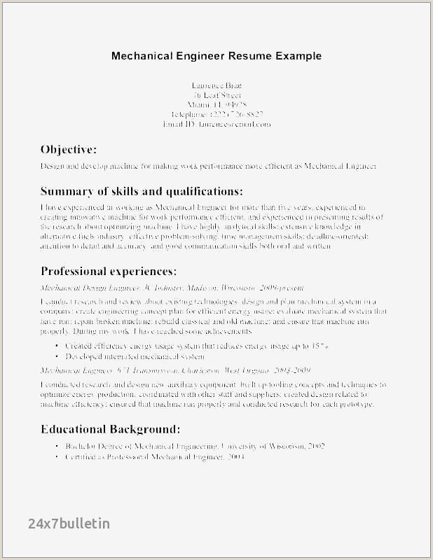 Mechanical Engineering Technologist Resume Sample Best