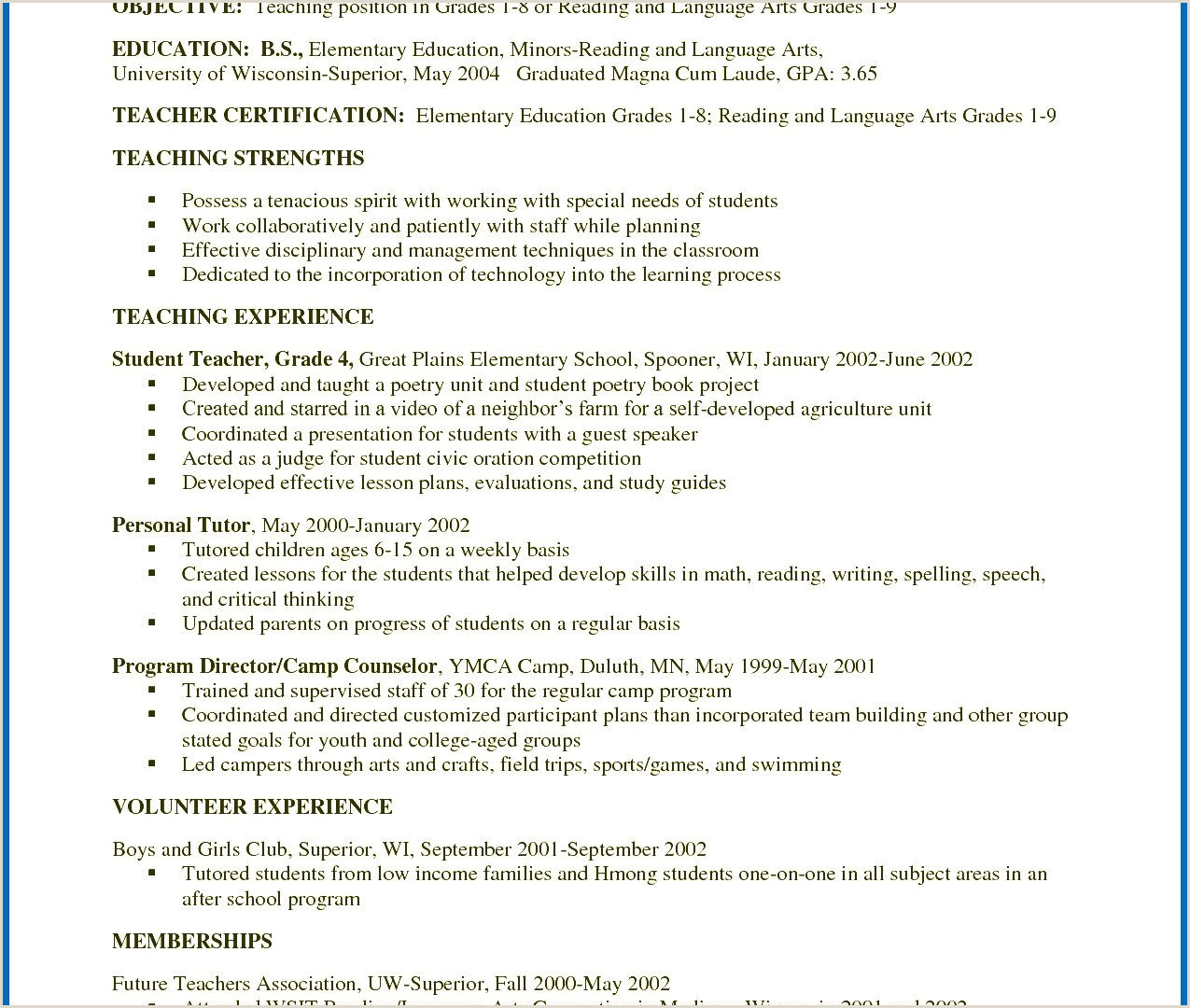 Special Education Teacher Resume Examples Special Education