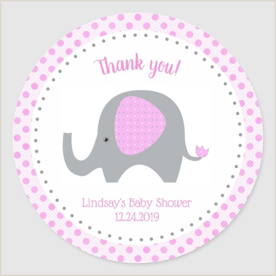 Pink Elephant Baby Shower Stickers