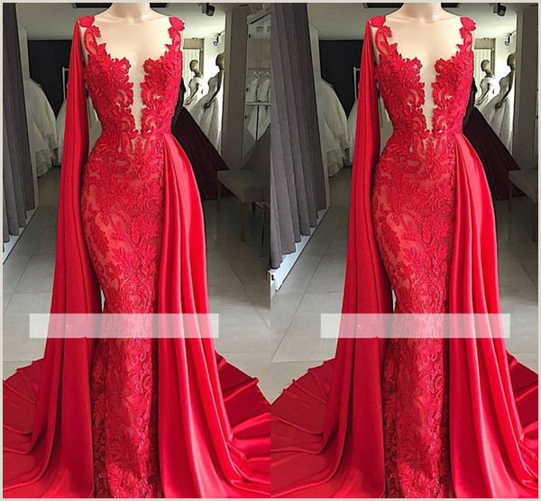 2019 Real s Elegant Red Lace Jewel Neck Mermaid Prom Dresses With Scarf Beads Watteau Train Evening Dresses Formal Gowns Customize Prom Dress