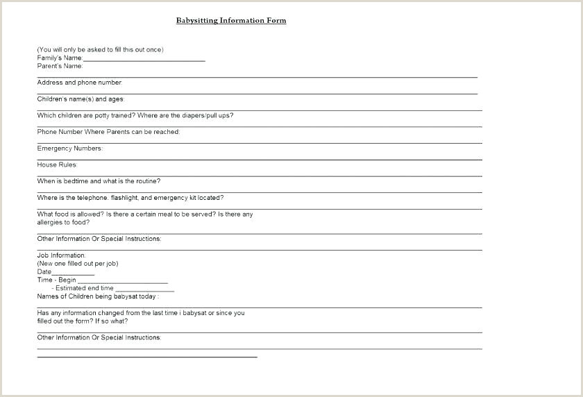 Emergency Contact Form For Nanny Babysitter By Babysitter