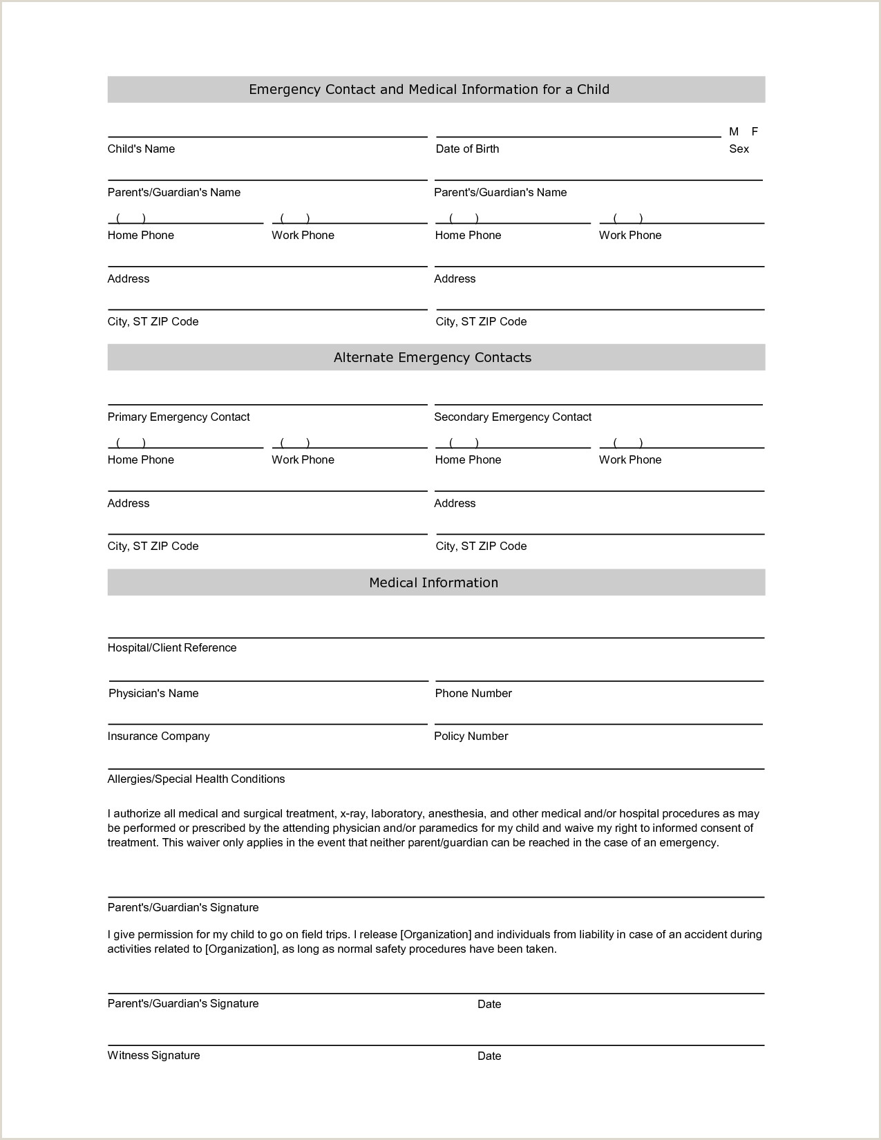 Emergency Contact form for Babysitter Emergency Contact Information form Template