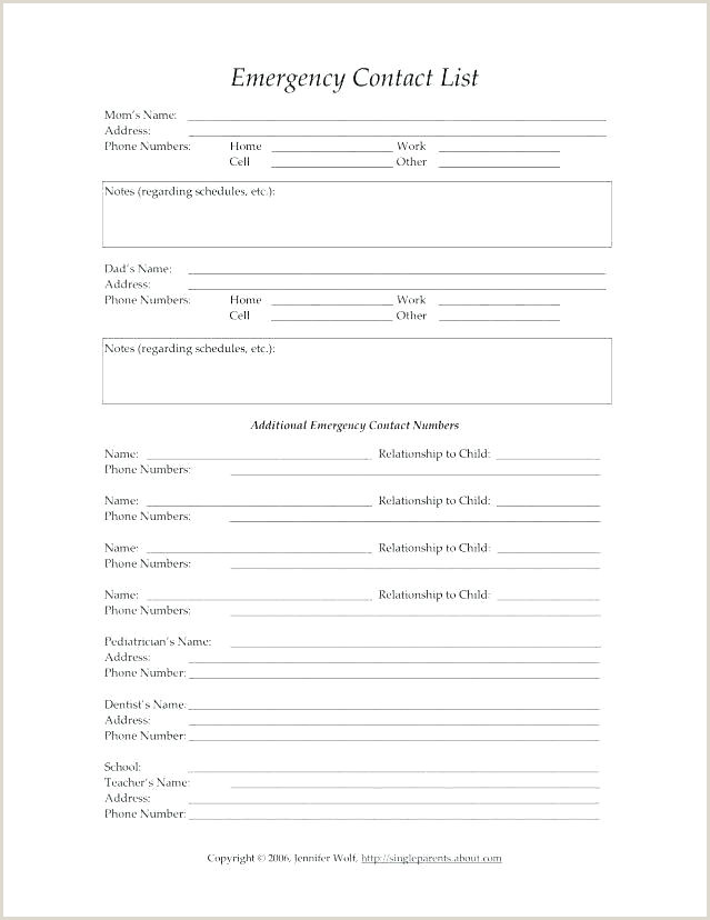 Free Daycare Forms Templates Parent Contact Form Template