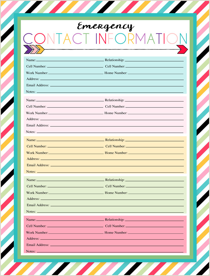 Emergency Contact form for Babysitter Free Printable Emergency Contact Sheet