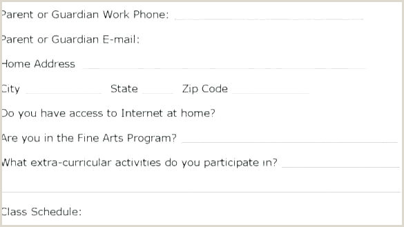 Emergency Contact form for Babysitter Student Information Card Template