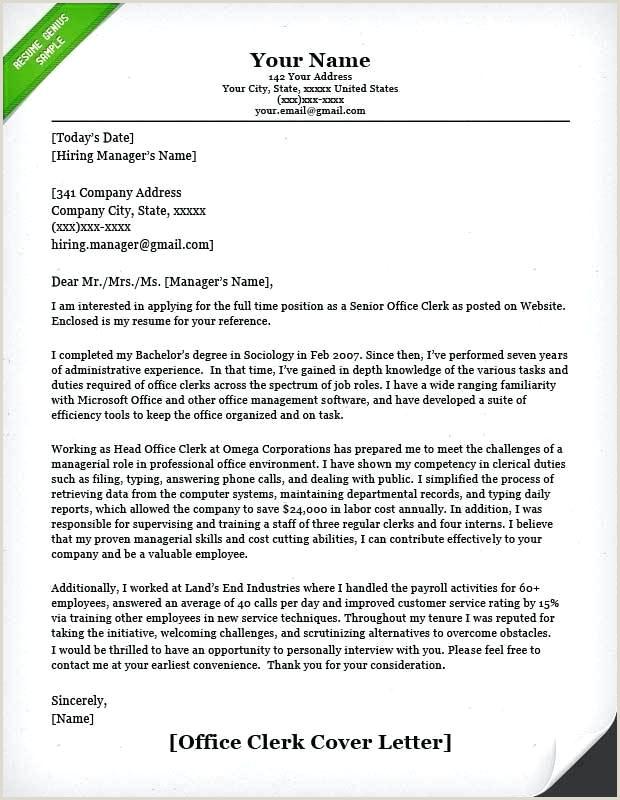 fice Clerk Cover Letter Example Job Referral Sample
