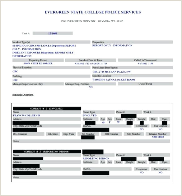 State College Police Service Report Template Mock Sample