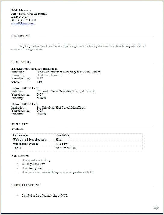 Engineer Fresher Resume format Pdf Pdf Resume format – Paknts
