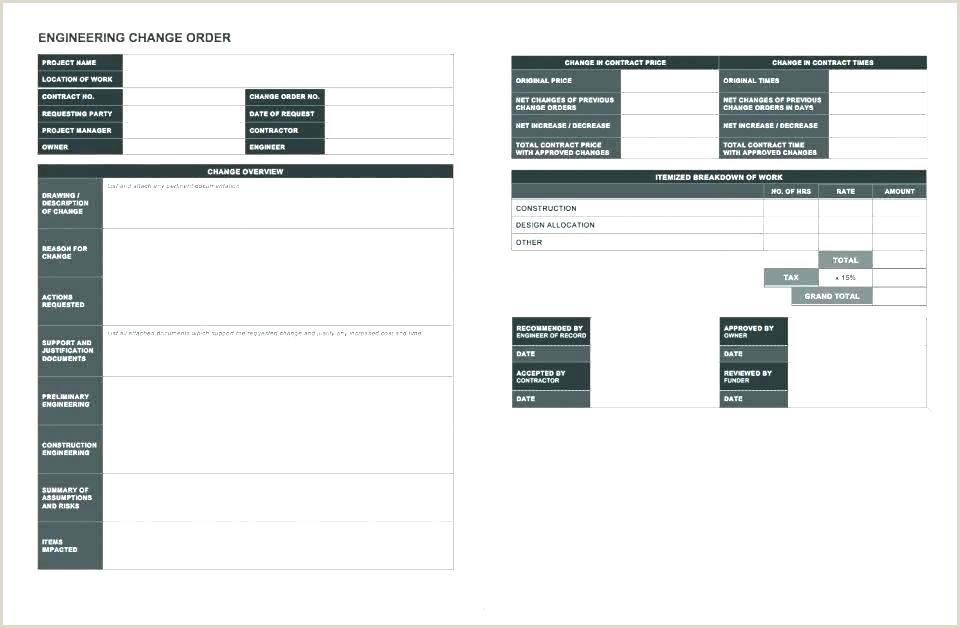 Engineering Change order Template Excel Engineering Change Proposal Template