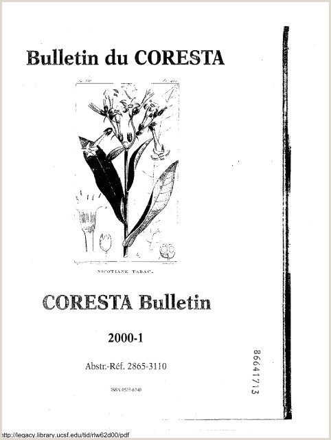 Bulletin du CORESTA Legacy Tobacco Documents Library