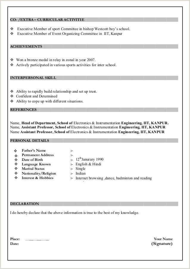Engineering Fresher Resume format Download In Ms Word Resume format Download In Ms Word 2007