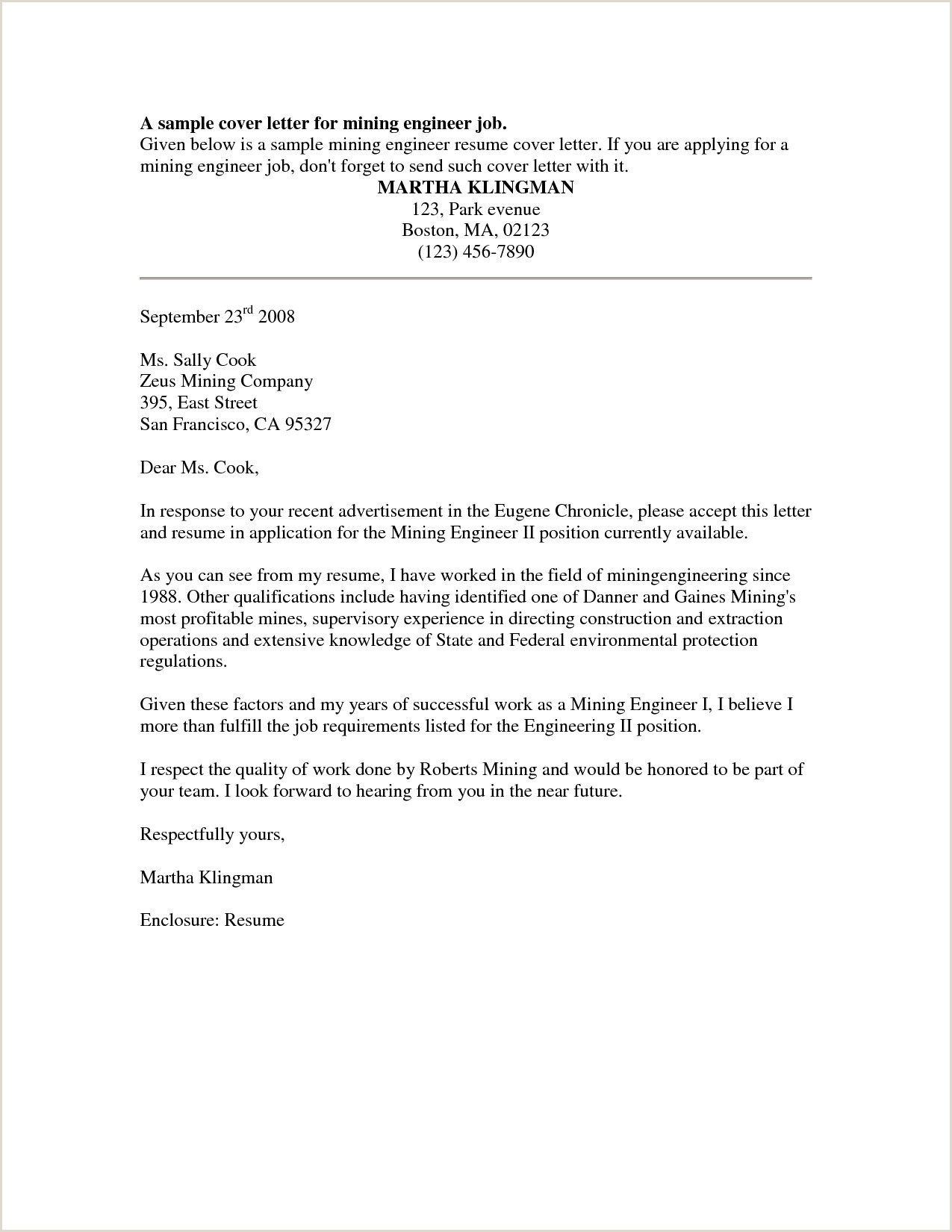 Entry Level Electrical Engineering Cover Letter Example