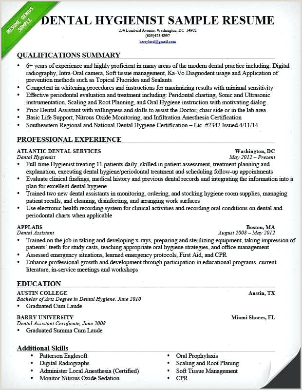 Entry Level Dental Hygiene Resume Awesome Dental Hygienist Resume Samples for Dental Hygiene