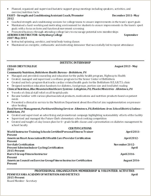 Entry Level Dietitian Resume Sample Best Registered Free