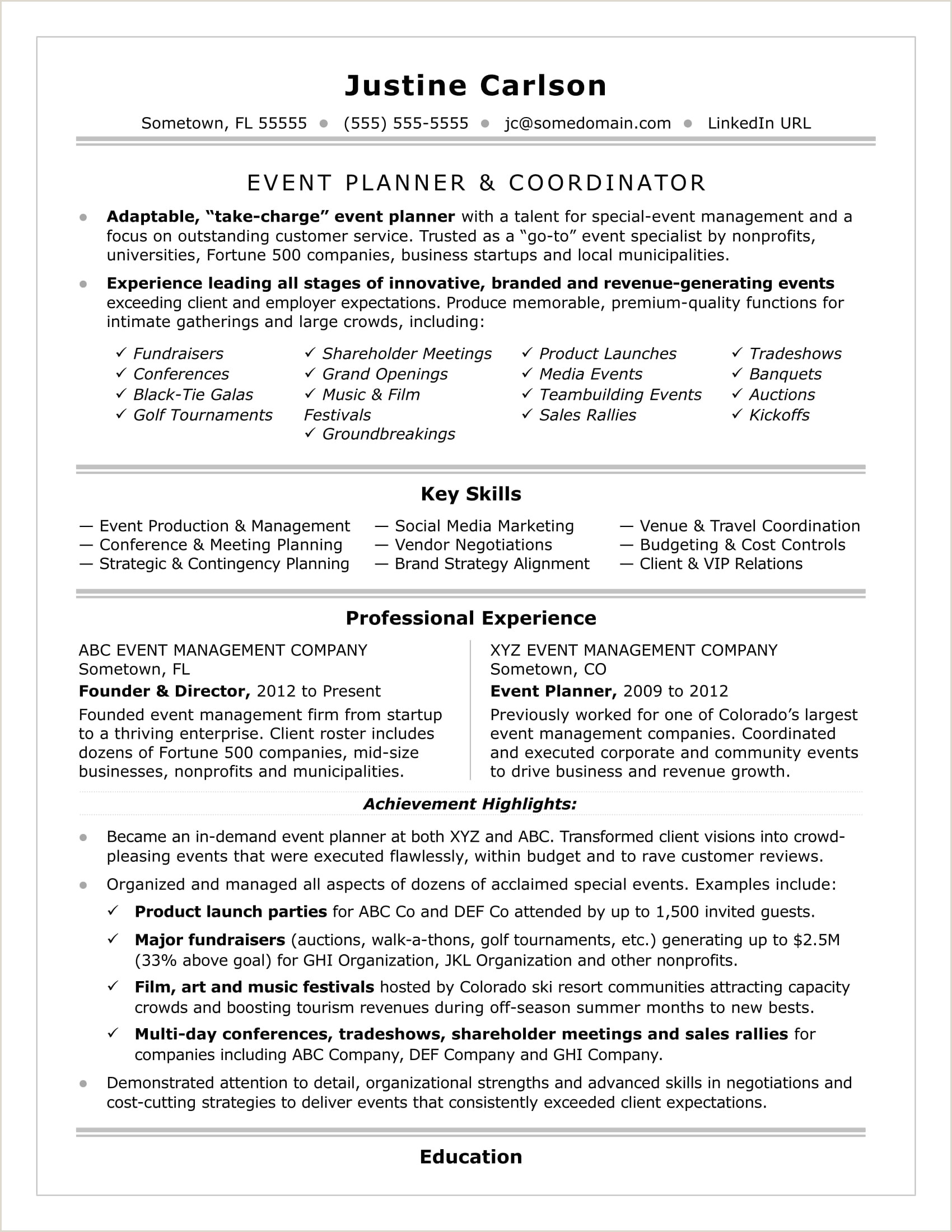 Entry Level event Planning Resume Cv Template events Coordinator Zaloyrpentersdaughter