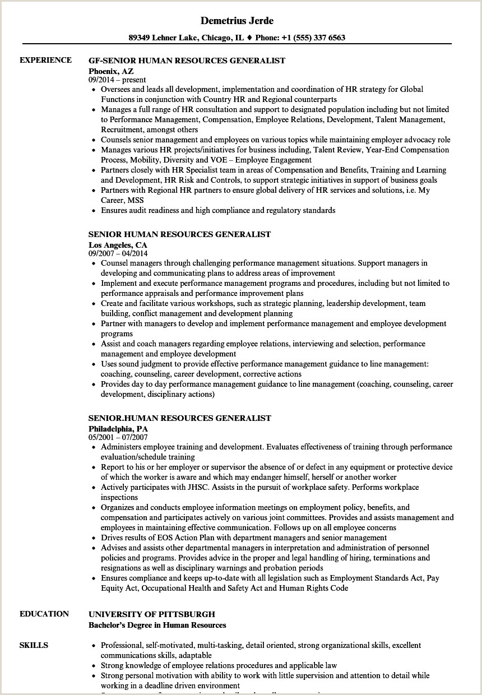 Senior Human Resources Generalist Resume Samples