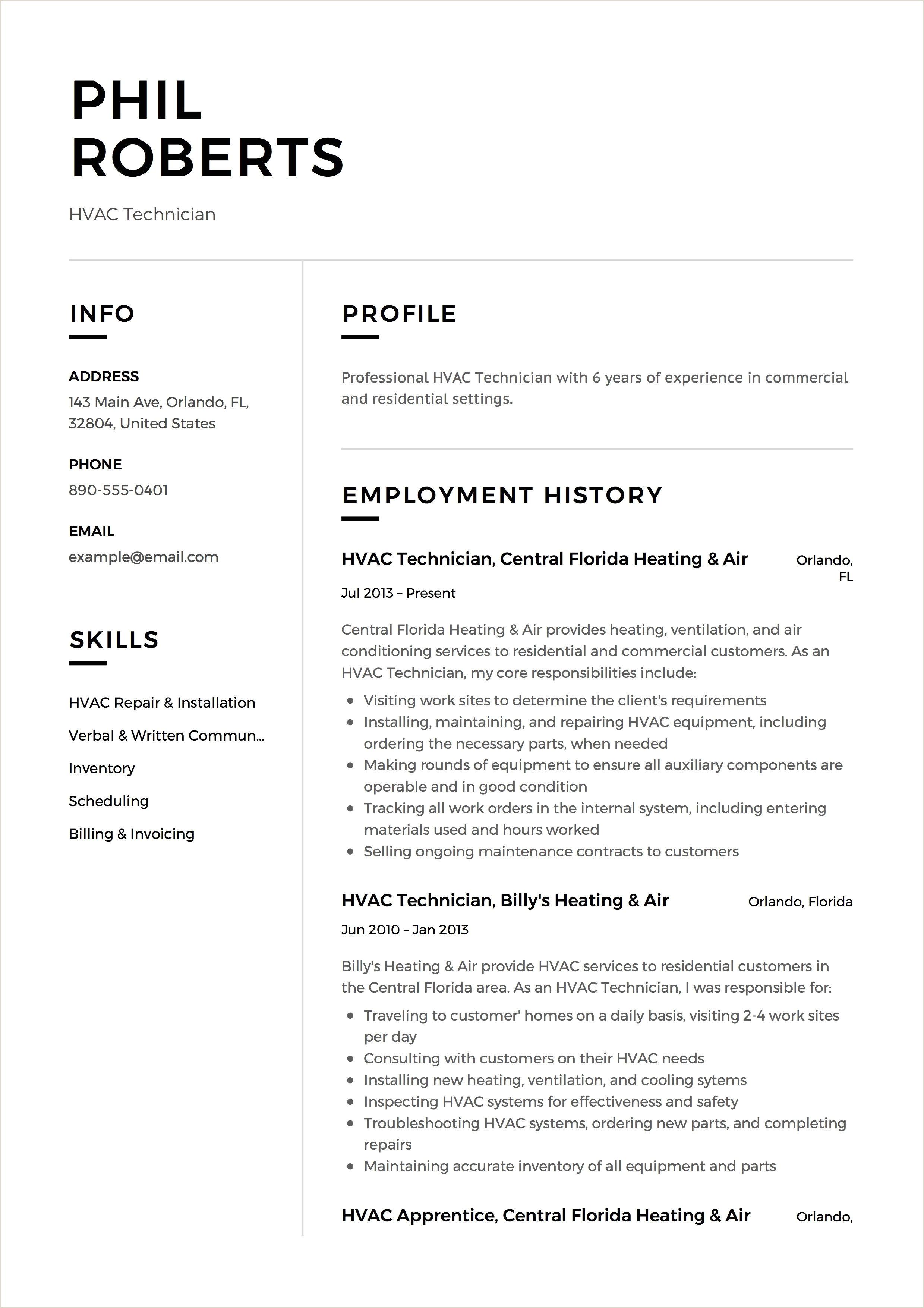 Hvac Technician Resume Example Template Sample Cv Formal