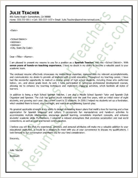 Spanish Teacher Cover Letter Sample
