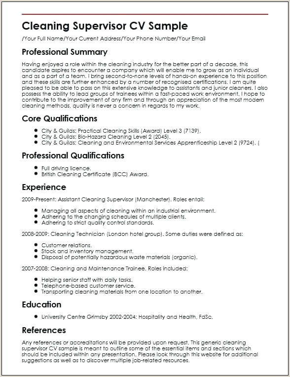 Environmental Services Resume Sample Resume For Cleaning Job – Joefitnessstore