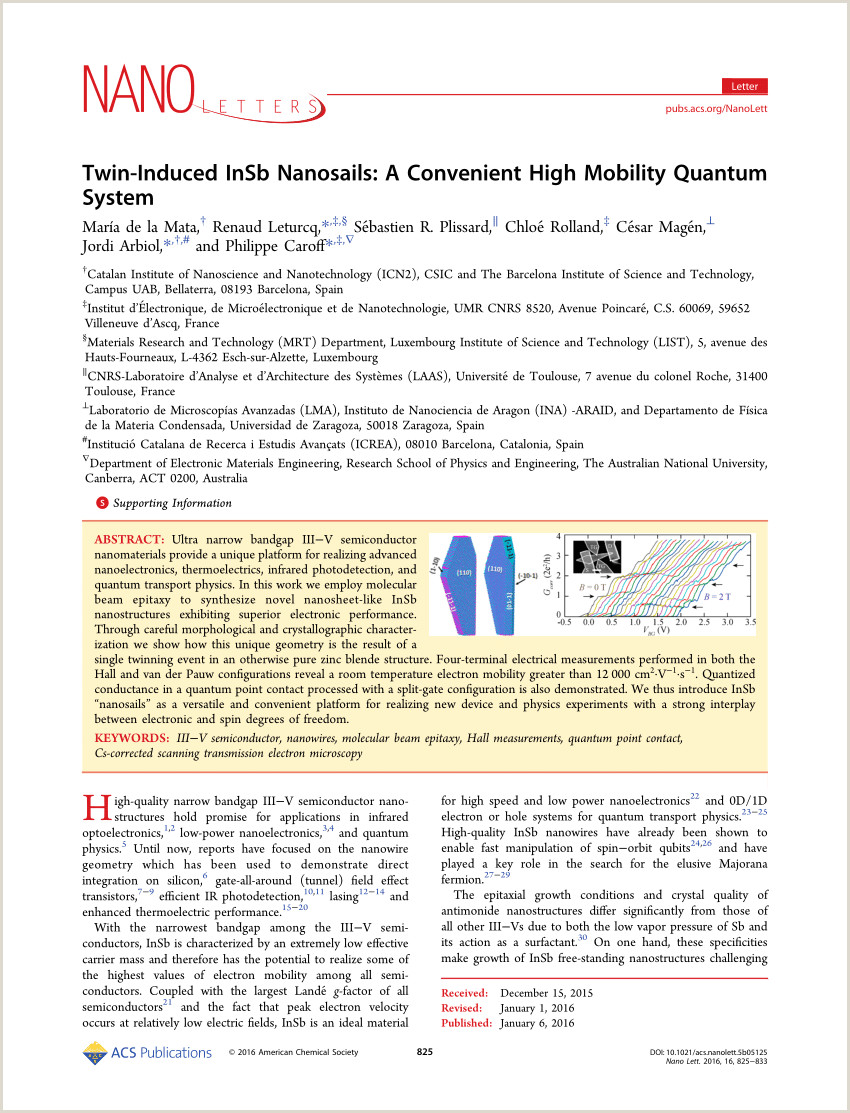 PDF Twin Induced InSb Nanosails A Convenient High Mobility