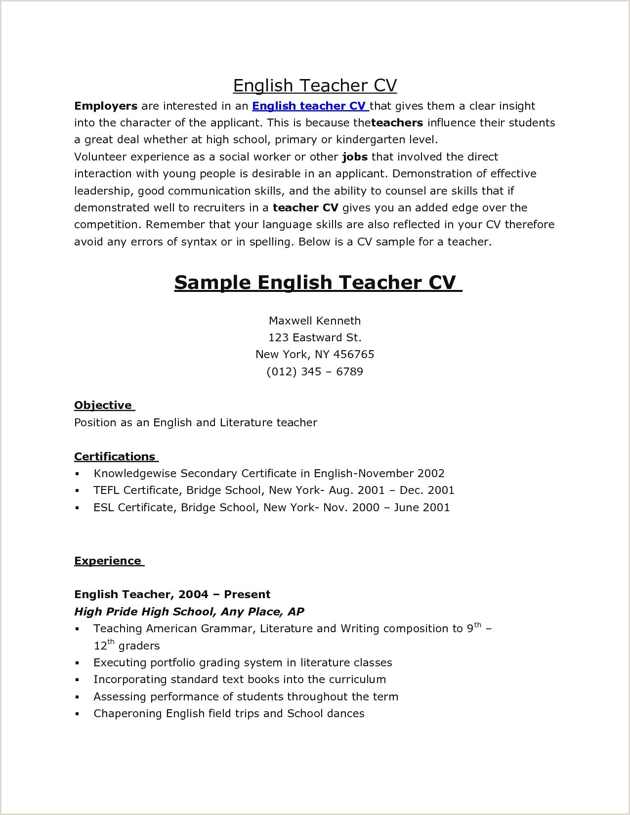 Chaperone Cover Letter Sample