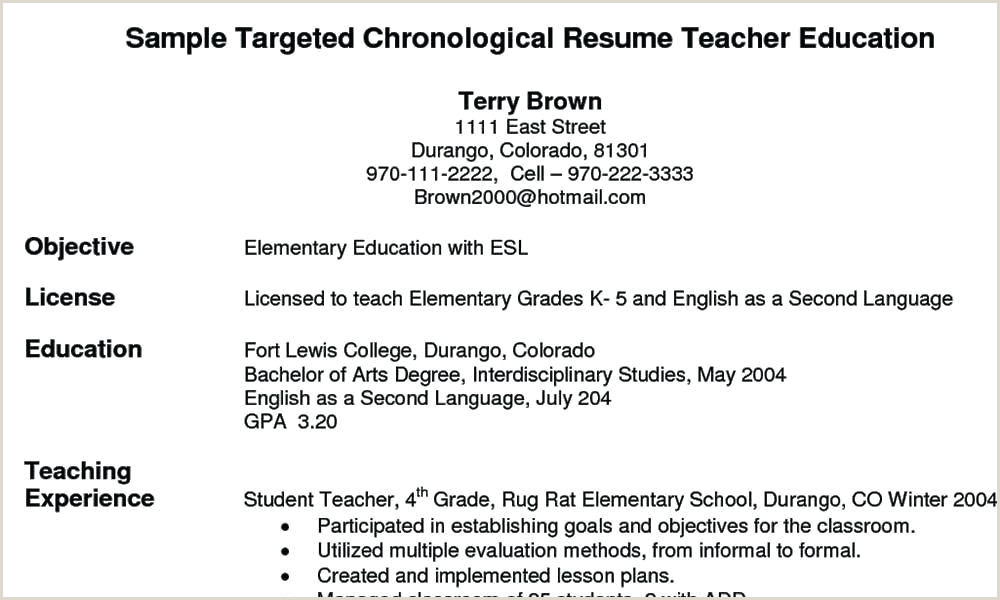 Elementary Teaching Resume Template New Elementary Teacher