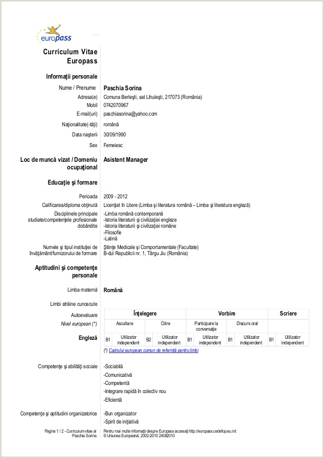 Europass Academic Cv format Cv In Engleza format Word
