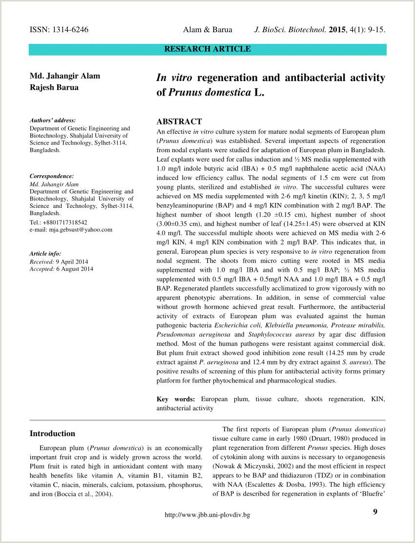 PDF In vitro regeneration and antibacterial activity of