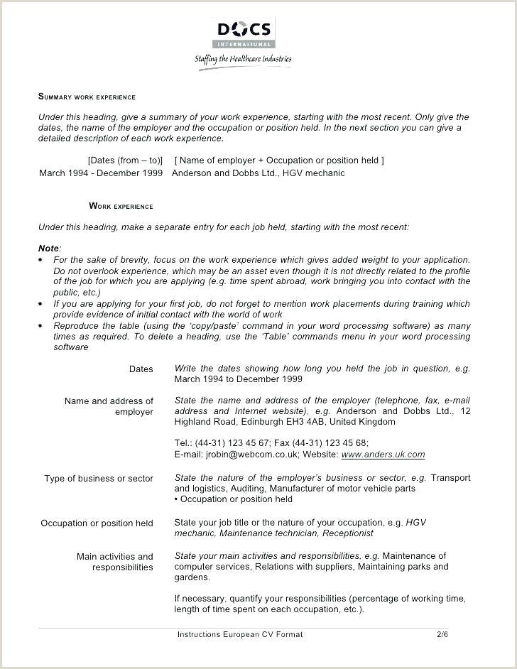 Europass Cv format Deutsch Standard Cv Template