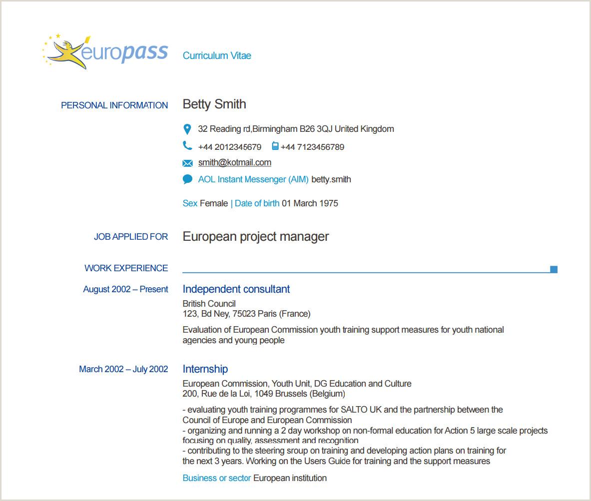 Europass Cv format Example Home
