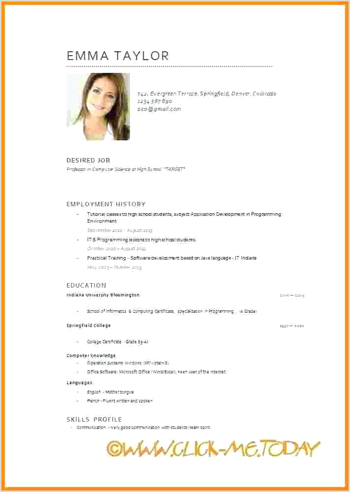 Europass Cv format for Students Cv English Template
