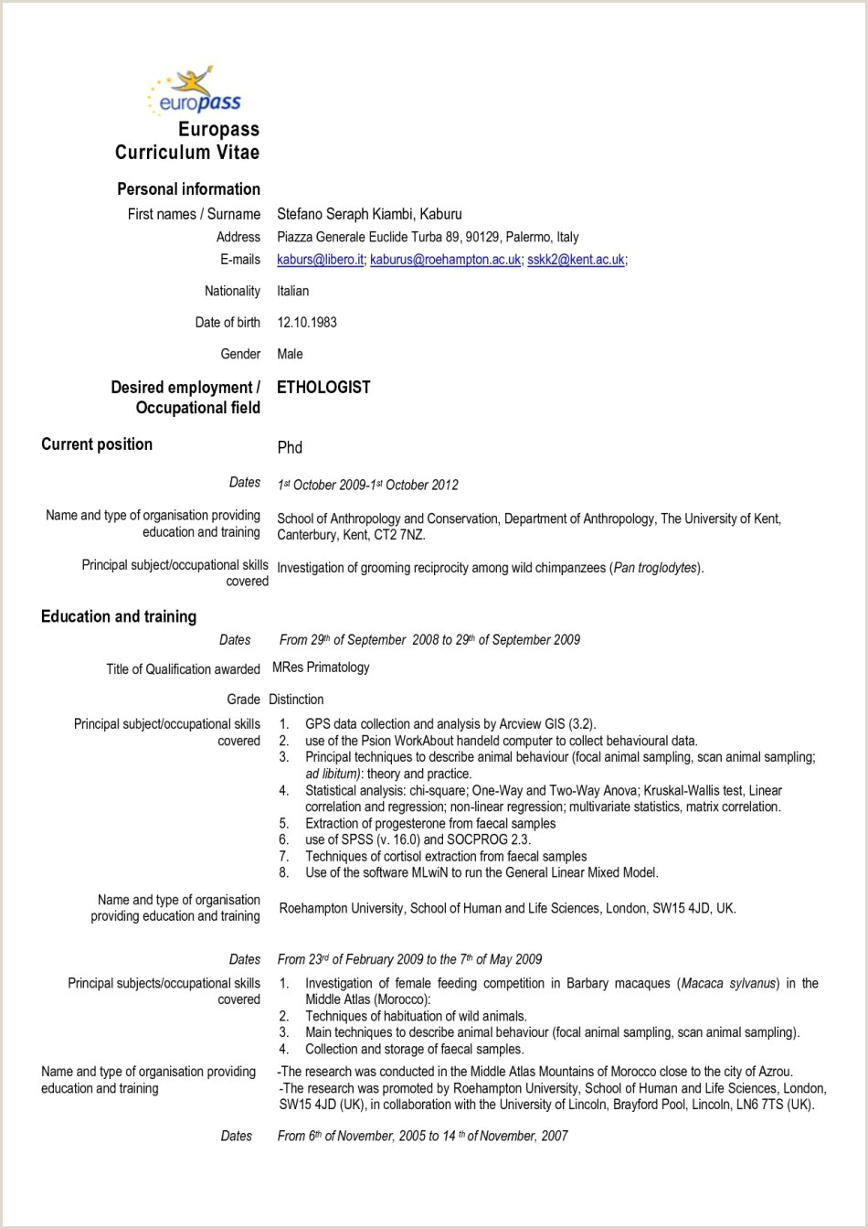 Europass Cv Format Free Download 17 Cv Europass Exemple