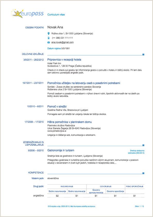 Europass Življenjepis