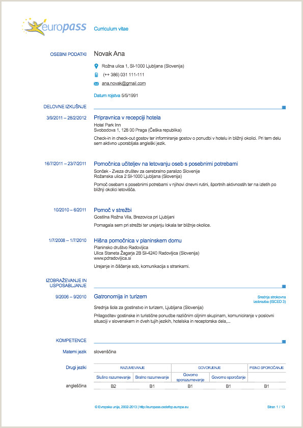 Europass Cv format Online Europass Življenjepis