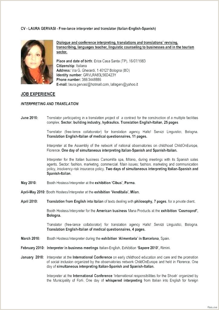 Europass Cv format Pdf Italiano Cv English Template