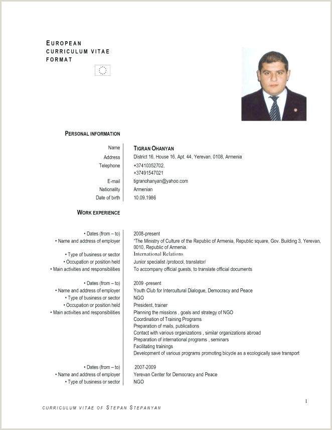 Word Template Cv English Example Free