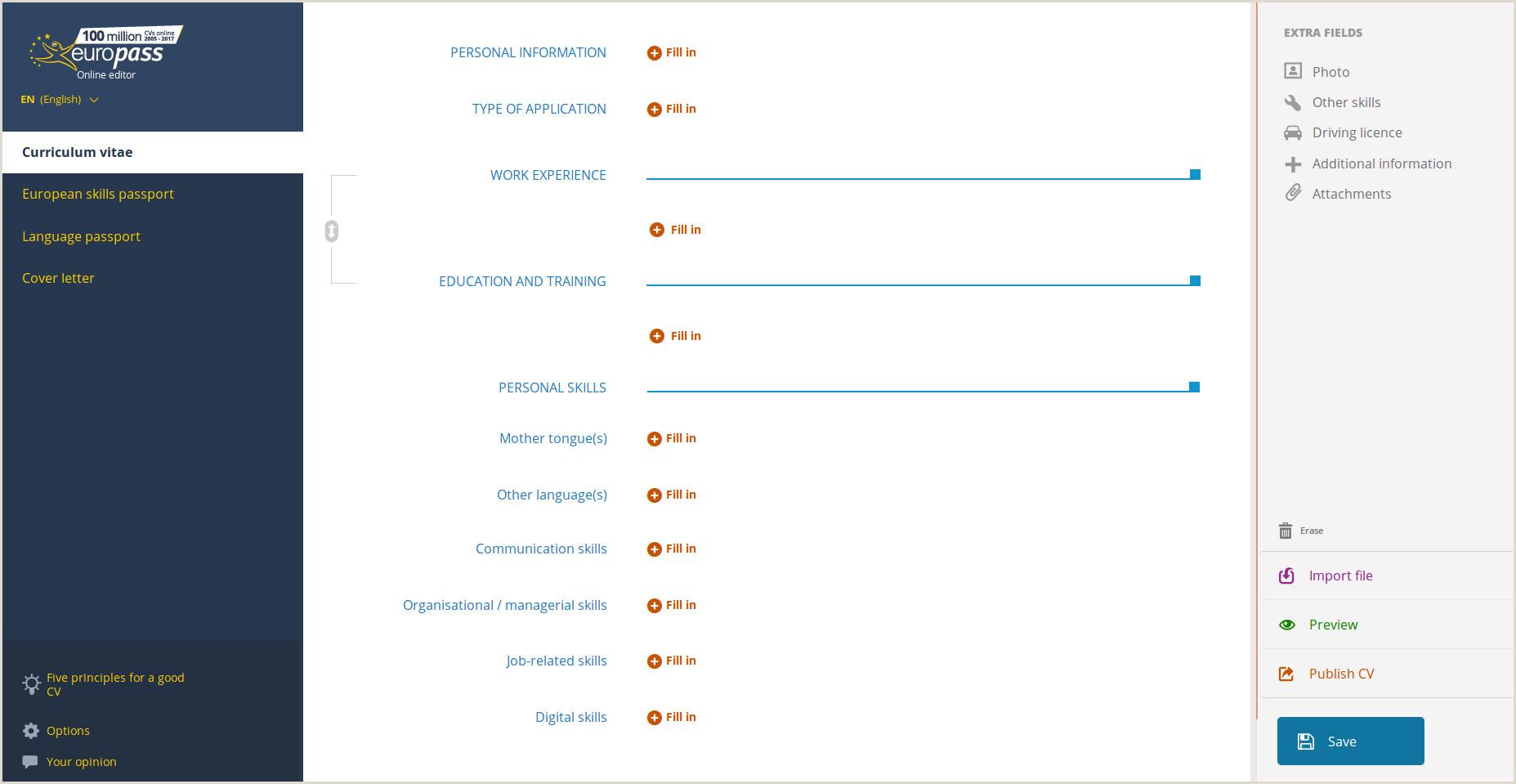 Applicazione online Curriculum vitae
