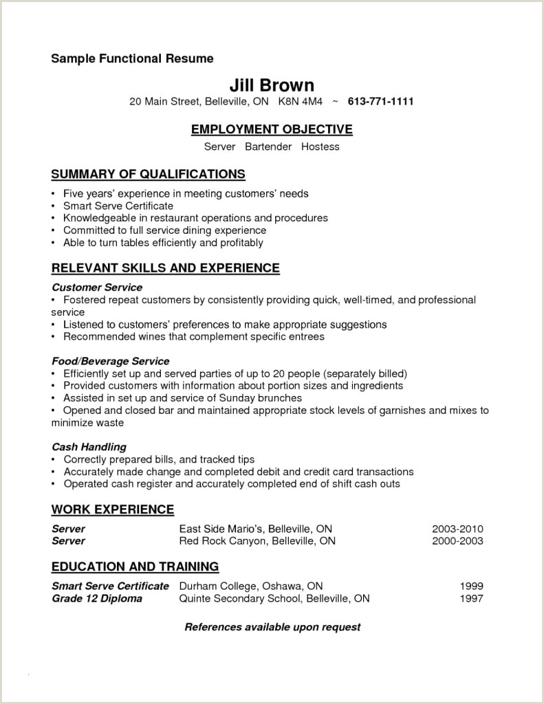 Examples Of Bartending Resumes Objective A Resume New Sample Bartender Resume Fresh
