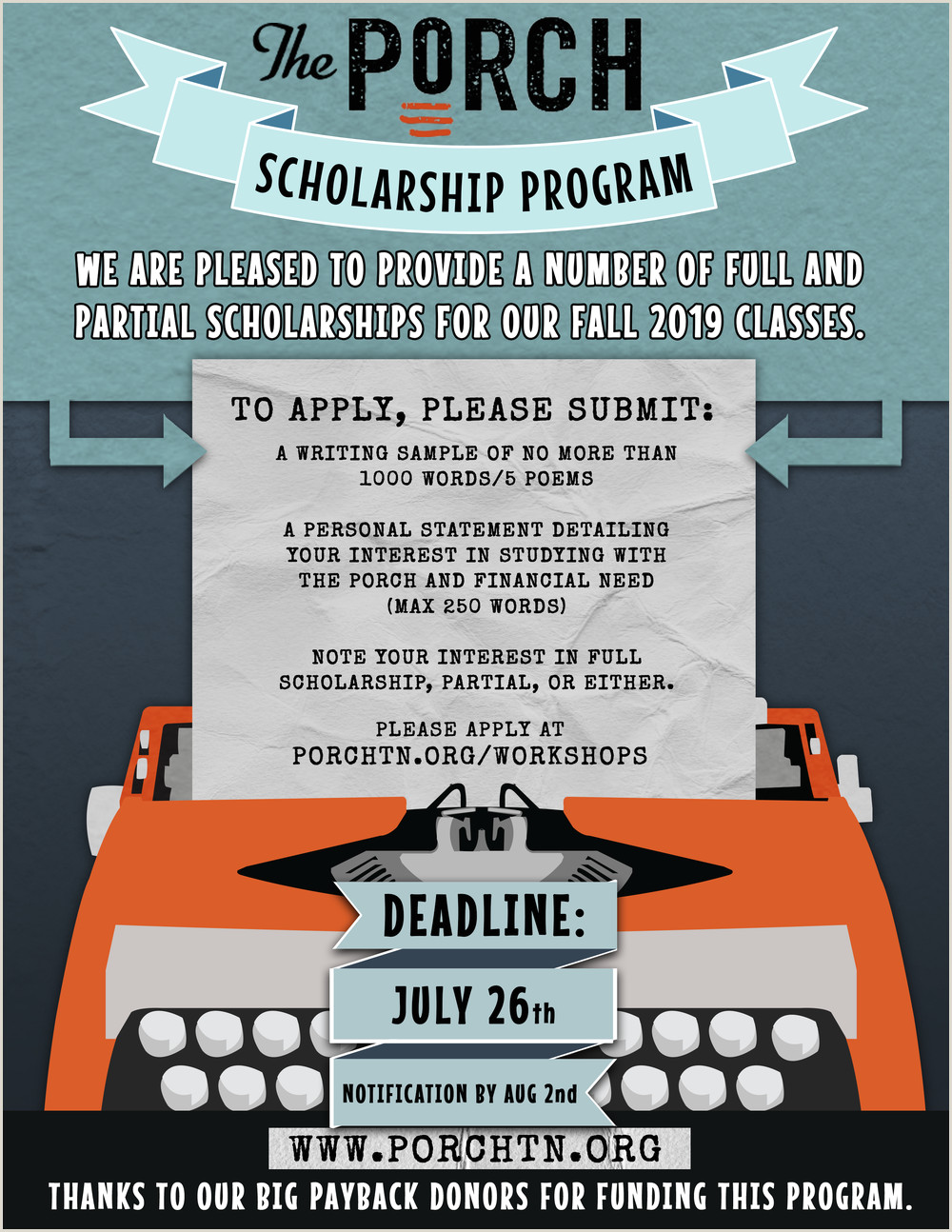 Examples Of Scholarship Essays On Financial Need Workshops — the Porch