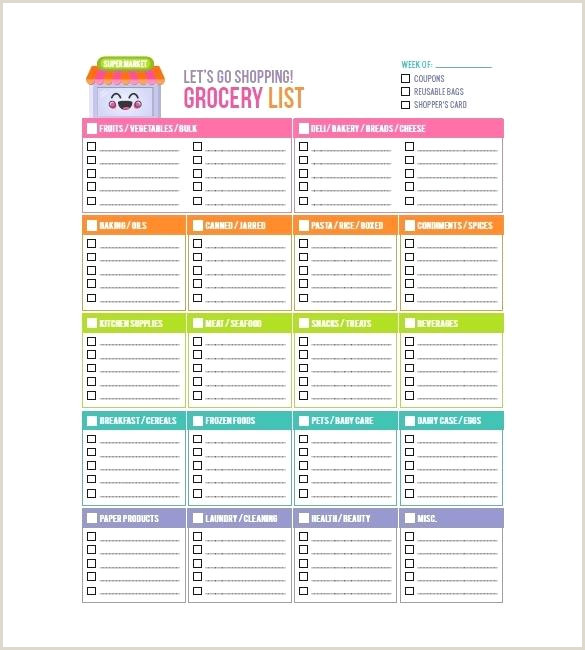 Monthly Grocery Shopping List Template Healthy Picture