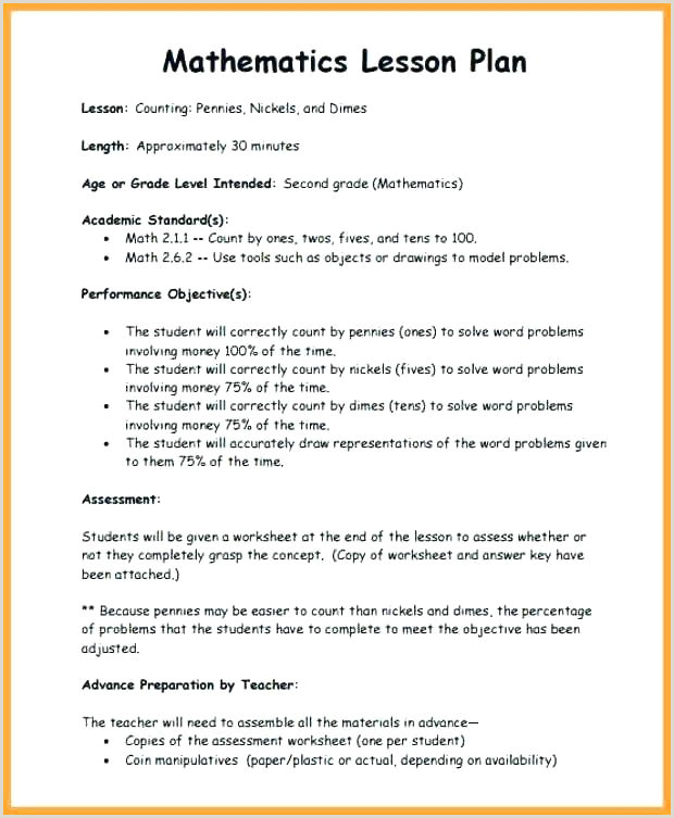 Excel Lesson Plans for High School Elementary Math Lesson Plan Template