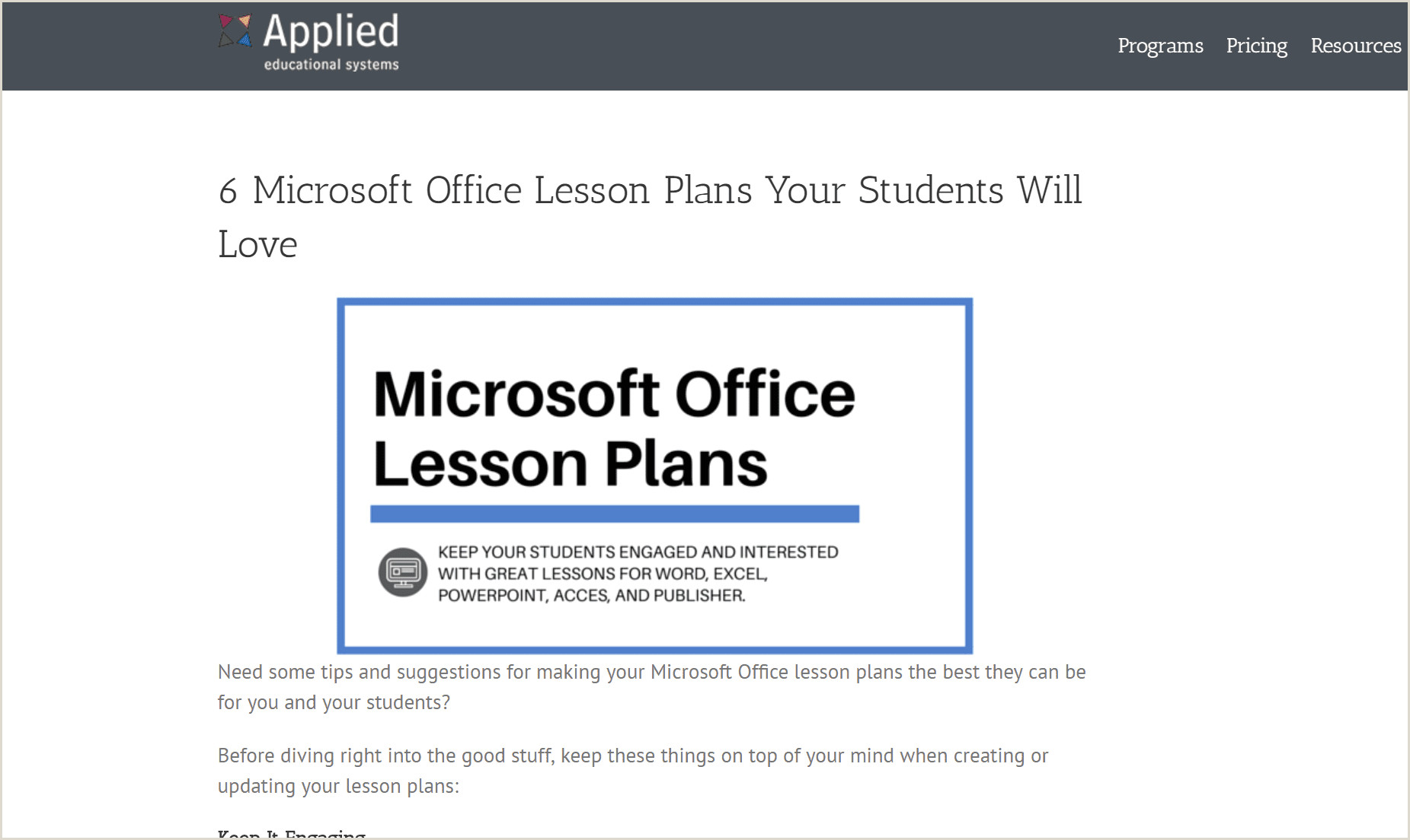 Excel Lesson Plans for High School Lesson Plans for Teaching Students Microsoft Fice