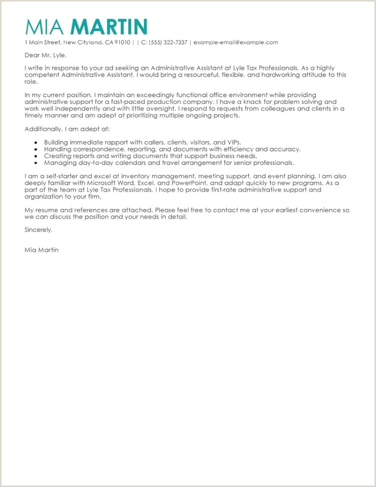Executive Administrator Resume Cover Letter Examples Administration Inspirational