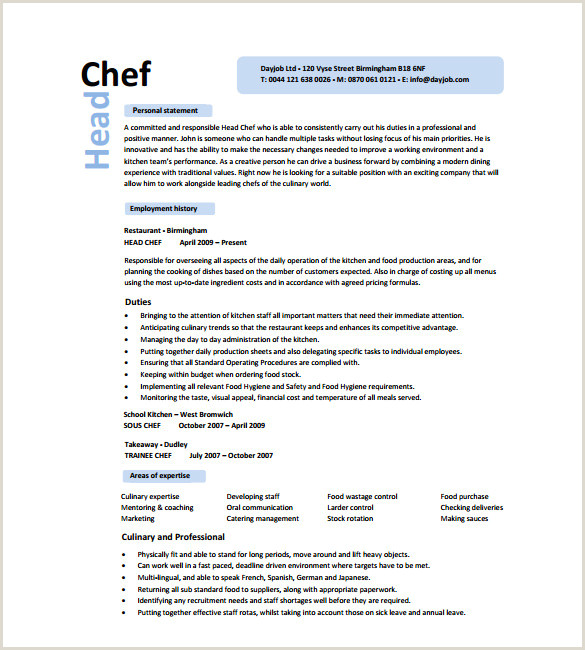Executive Chef Resume Cook Resume Sample Pdf Resume Sample