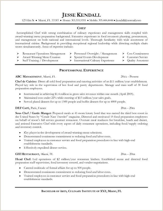 Cv De Chef De Cuisine De Base Cv Chef De Cuisine Resume for