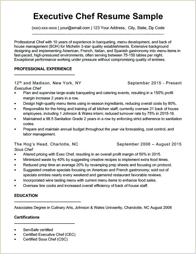 Executive Chef Resume Professional Chef Sample Resume – Ha