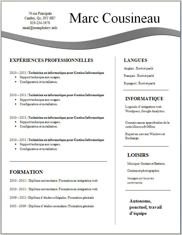 Exemple De Curriculum Vitae En Anglais Pdf Cv Word Simple